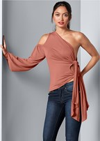 cold shoulder side tie top