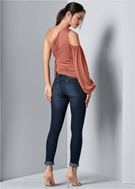 Back view Cold Shoulder Side Tie Top