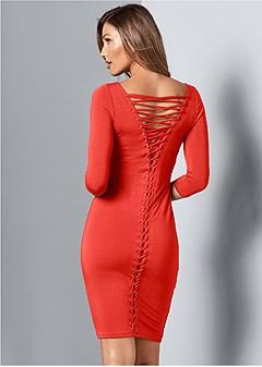 lace up back detail dress