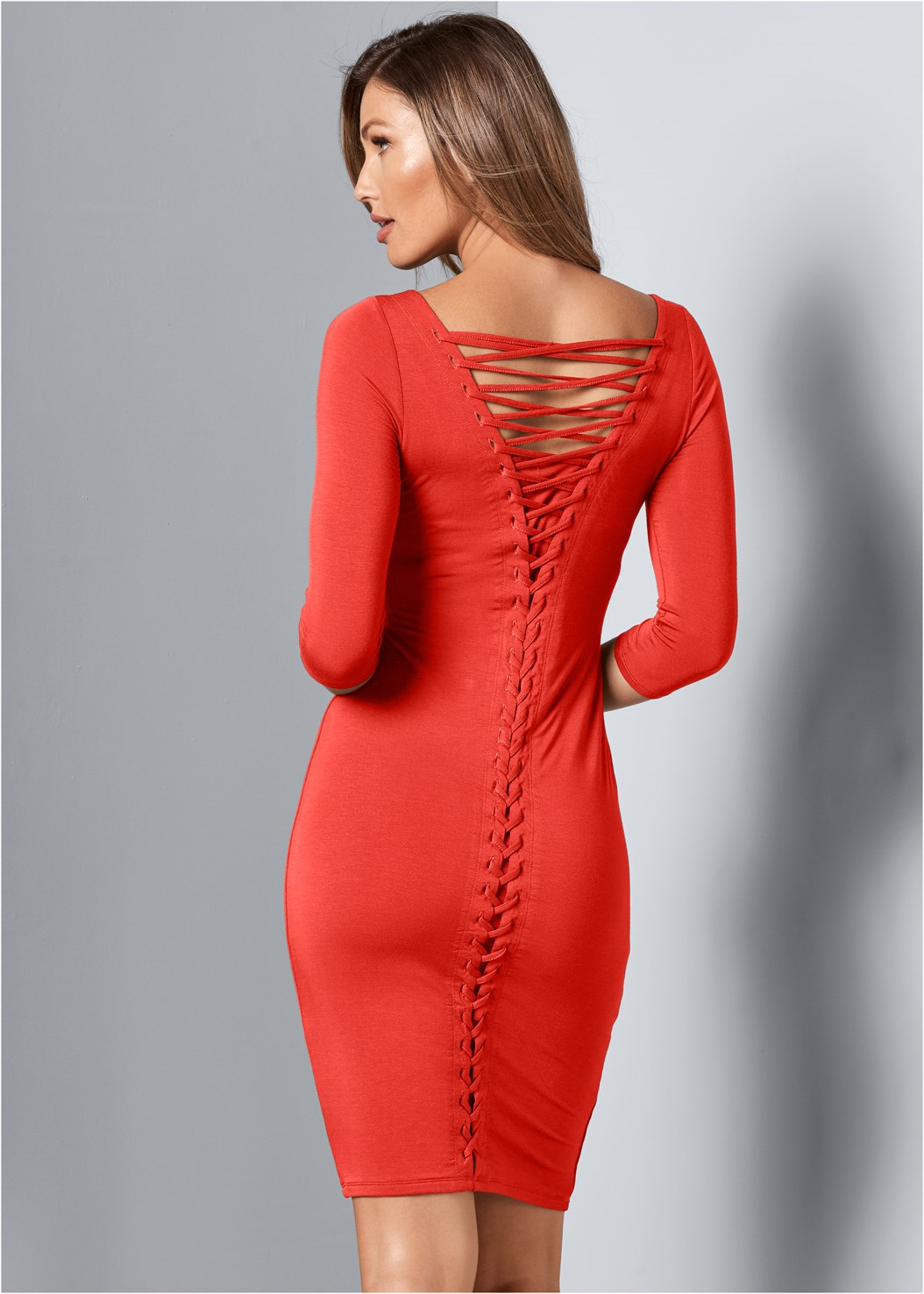 Lace Up Back Detail Dress