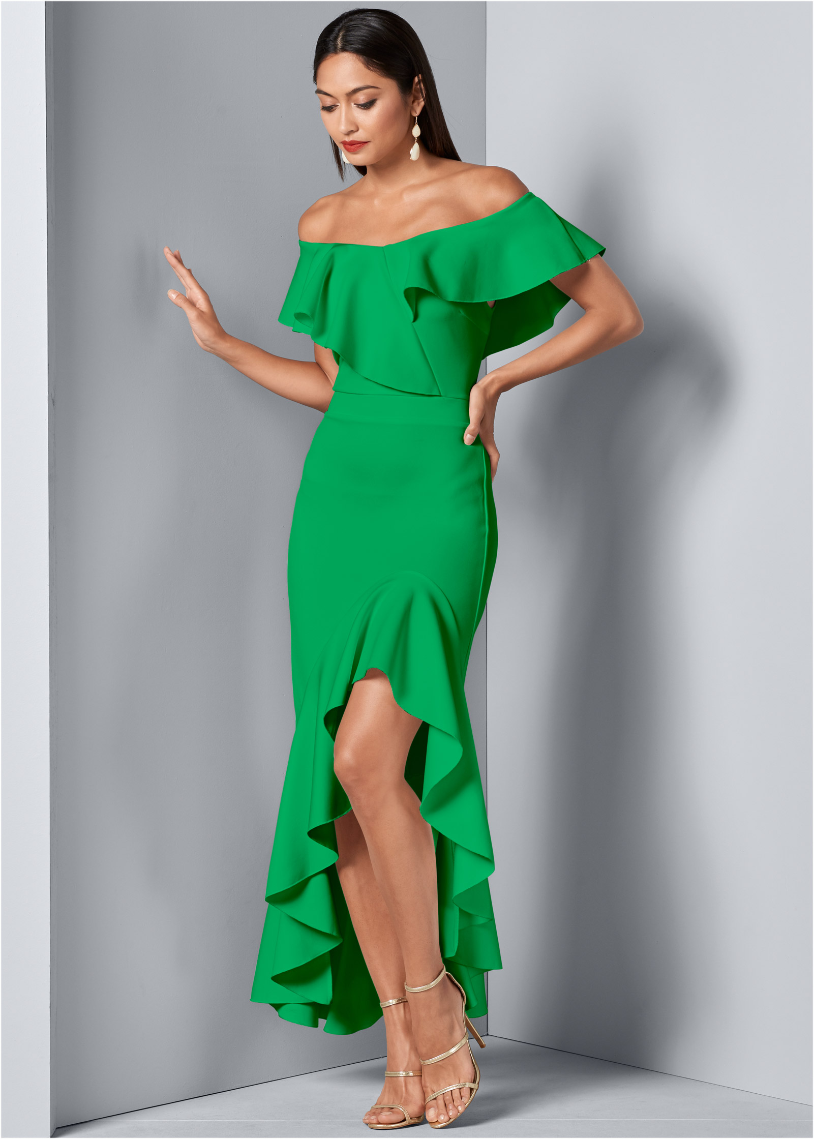 High Slit One Shoulder Jersey Dress