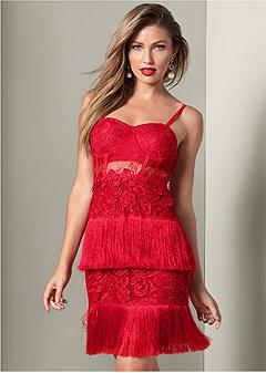 fringe detail lace dress