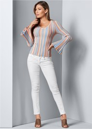 Alternative Striped Bell Sleeve Sweater