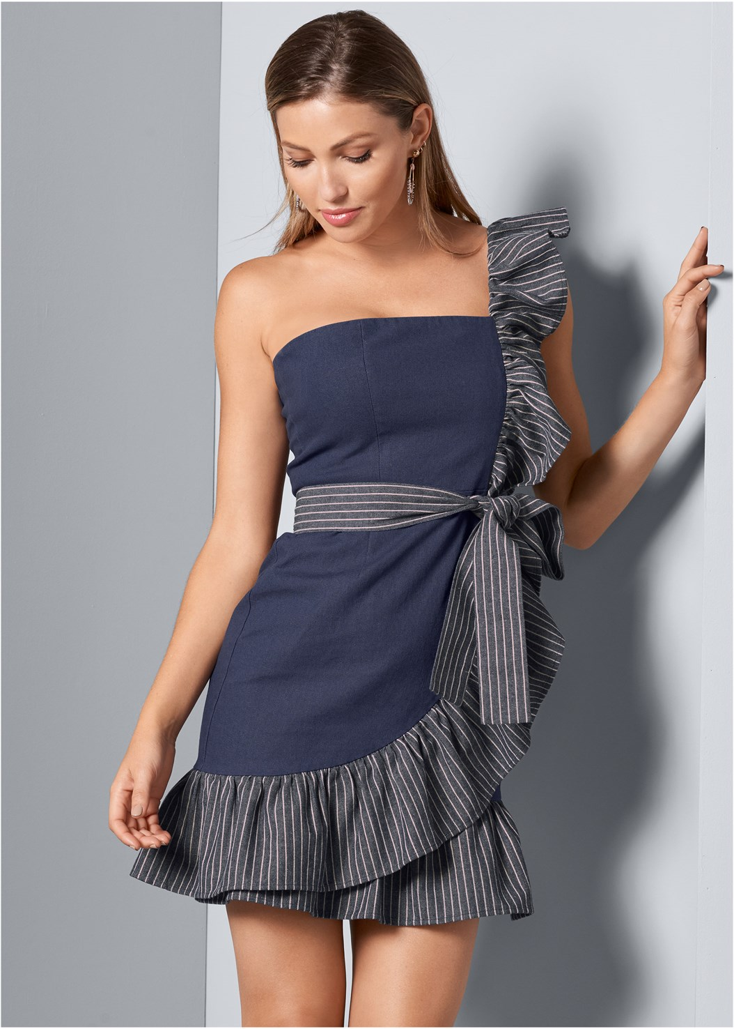 Ruffle Detail Denim Dress,Smooth Longline Push Up Bra,Beaded Hoop Earrings