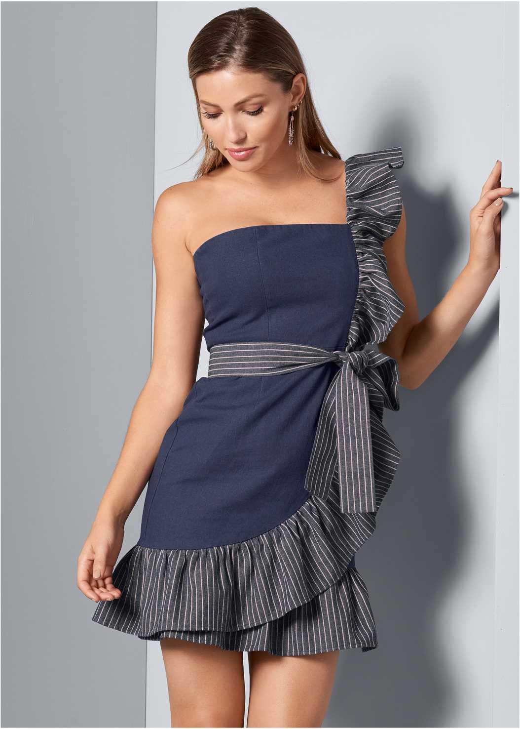 Ruffle Detail Denim Dress,Smooth Longline Push Up Bra,Beaded Hoop Earrings
