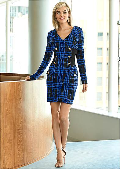 Plaid Button Detail Dress