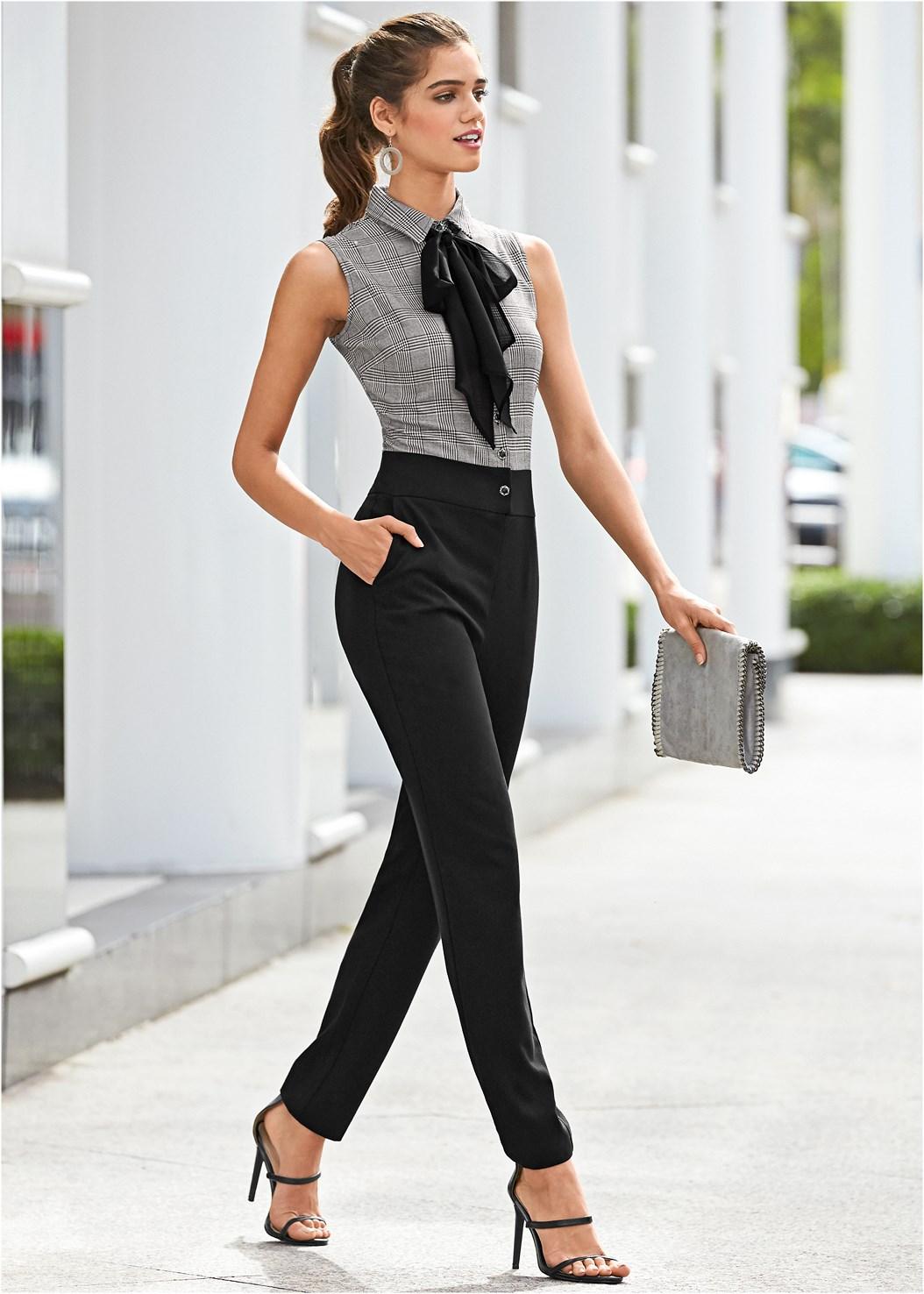 Tie Neck Jumpsuit,High Heel Strappy Sandals,Embellished Lucite Heel