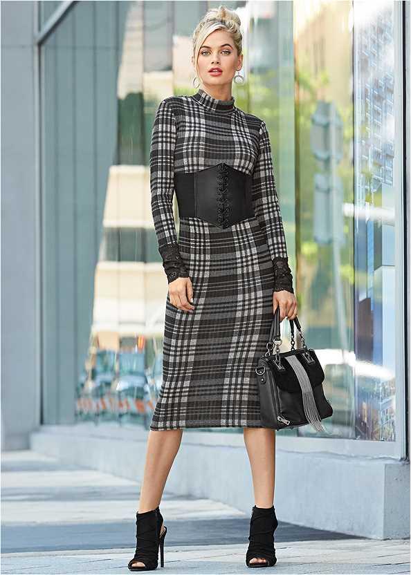 Lace Detail Bodycon Dress,Bauble Hoop Earrings