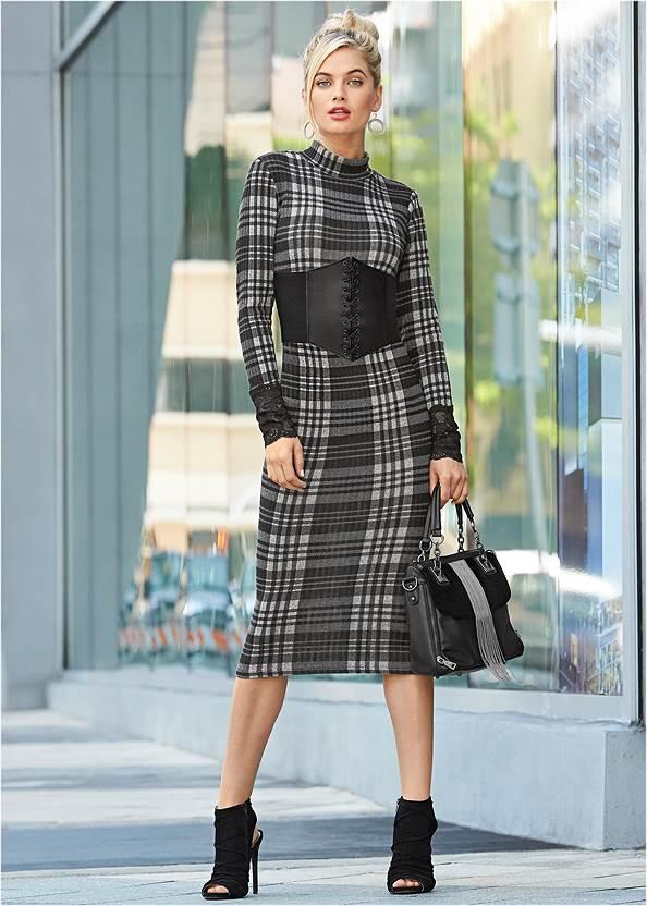 Lace Detail Bodycon Dress,Corset Belt