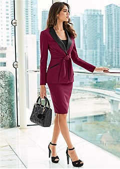 tie detail skirt suit set