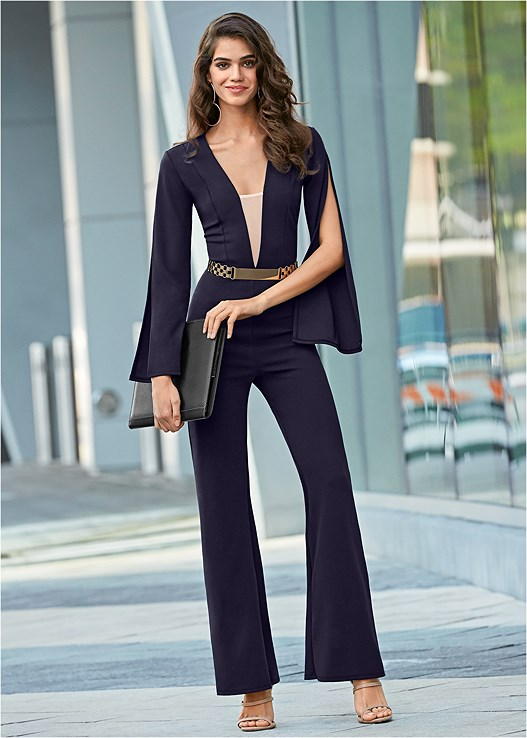 SLEEVE DETAIL JUMPSUIT,BUCKLE DETAIL STRAPPY HEELS