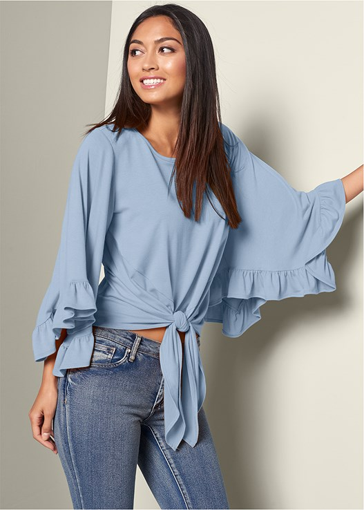 RUFFLE SLEEVE TIE FRONT TOP,COLOR SKINNY JEANS,TRANSPARENT STUDDED HEELS