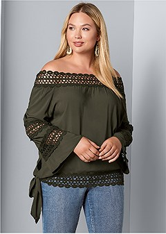 plus size crochet side tie top