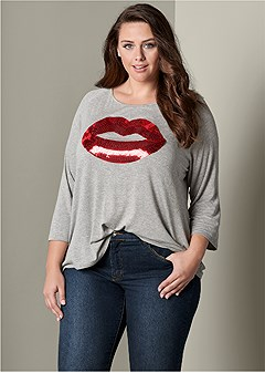 plus size lips lounge top