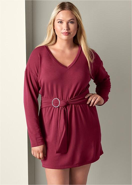 Plus Size Belted Lounge Dress In Burgundy Venus