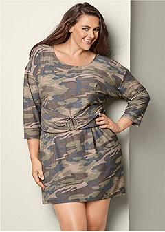 plus size camo belted lounge dress