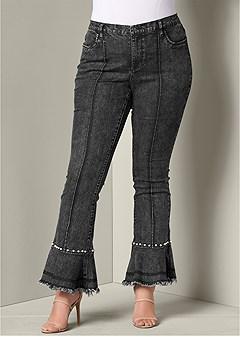 plus size pearl detail jeans