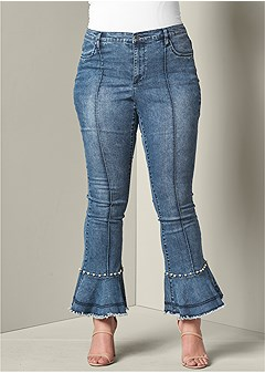 plus size pearl detail jeans