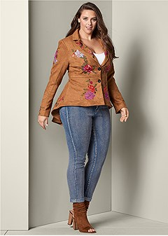 plus size embroidered high low jacket
