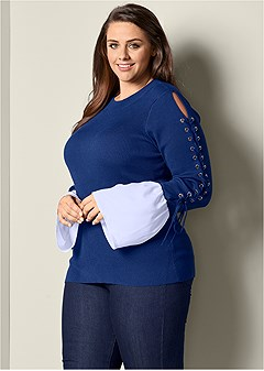 plus size lace up detail sweater