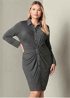 plus size knot detail shirt dress