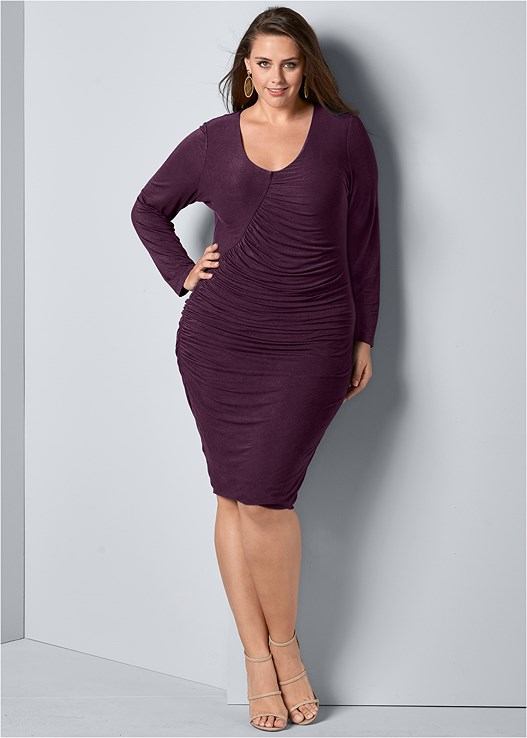 plus size ruched detail midi dress