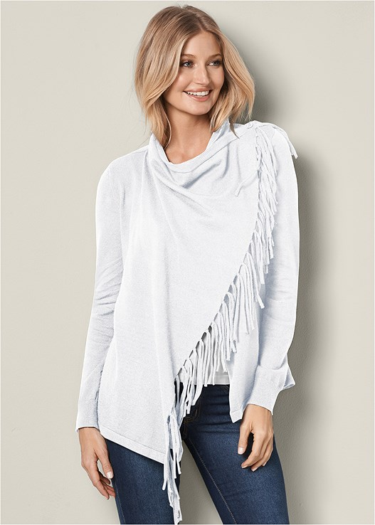 FRINGE WRAP FRONT CARDIGAN,SEAMLESS CAMI,COLOR SKINNY JEANS