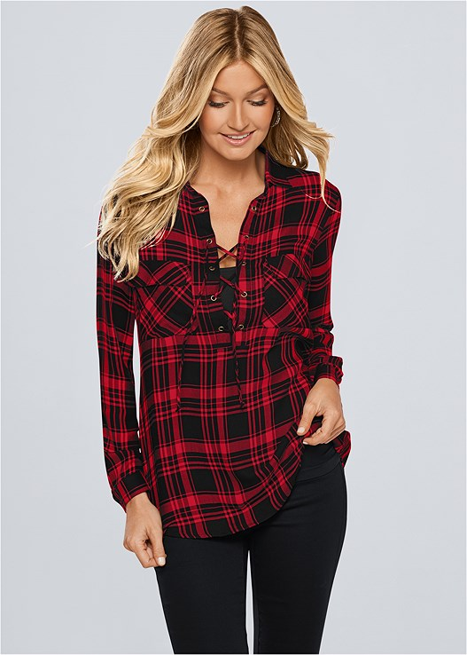 PLAID LACE UP TOP,SEAMLESS CAMI,EVERYDAY YOU LACE CAMI BRA,COLOR SKINNY JEANS