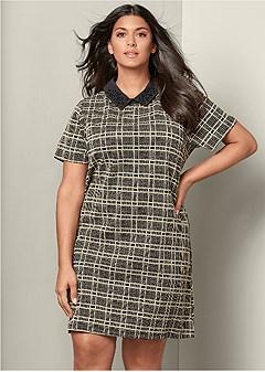 plus size plaid collar dress