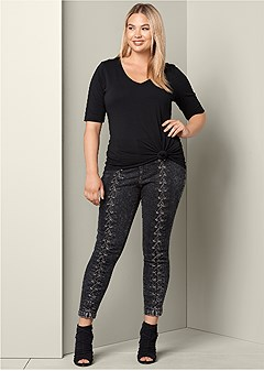 plus size lace up detail jeans