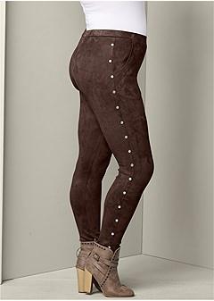 plus size studded faux suede pants