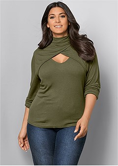 71644d1d075 plus size cut out mock neck top