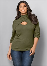 Front View Cut Out Mock Neck Top