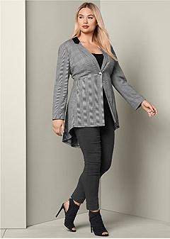 plus size print ruffle back blazer