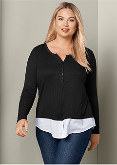 plus size ribbed henley top