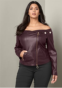 plus size faux leather zipper top
