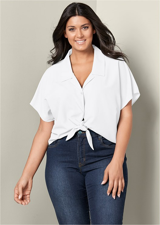 644f1b50dac Plus Size KNOT FRONT CROP TOP