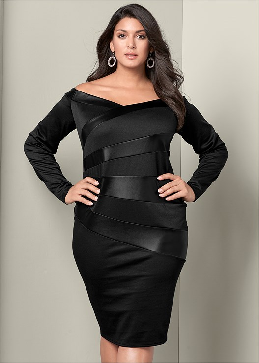 Plus Size LONG SLEEVE BODYCON DRESS | VENUS