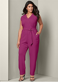 plus size surplice front jumpsuit