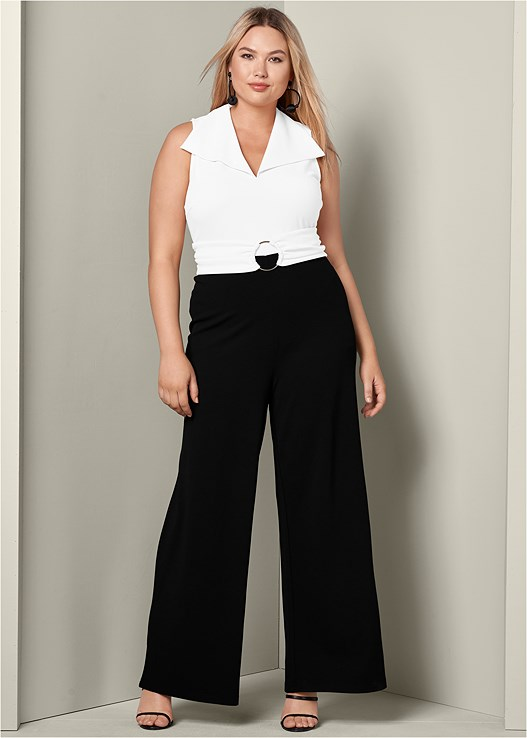 a7305b8bd120 Plus Size BELTED JUMPSUIT in Black   White