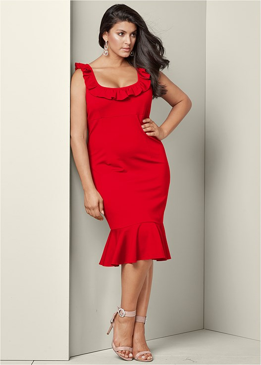 Plus Size Ruffle Detail Bodycon Dress Venus