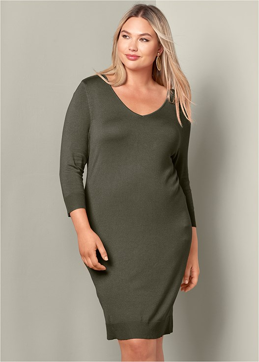 V-NECK SWEATER DRESS
