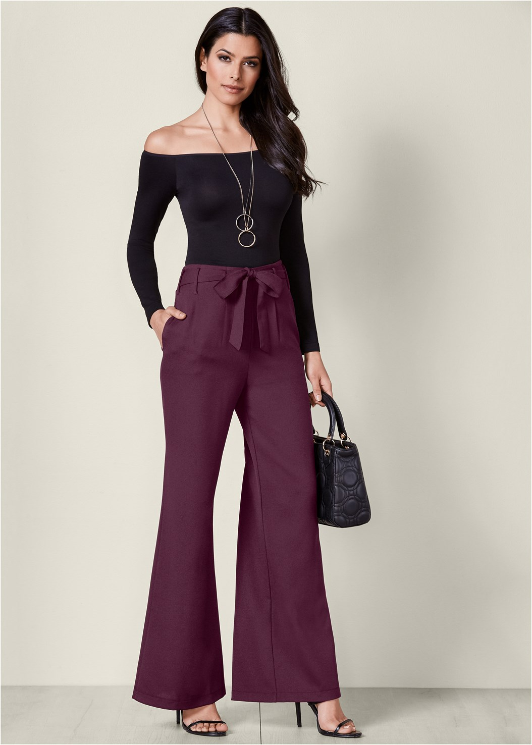 Belted Wide Leg Pants,Off The Shoulder Top,High Heel Strappy Sandals