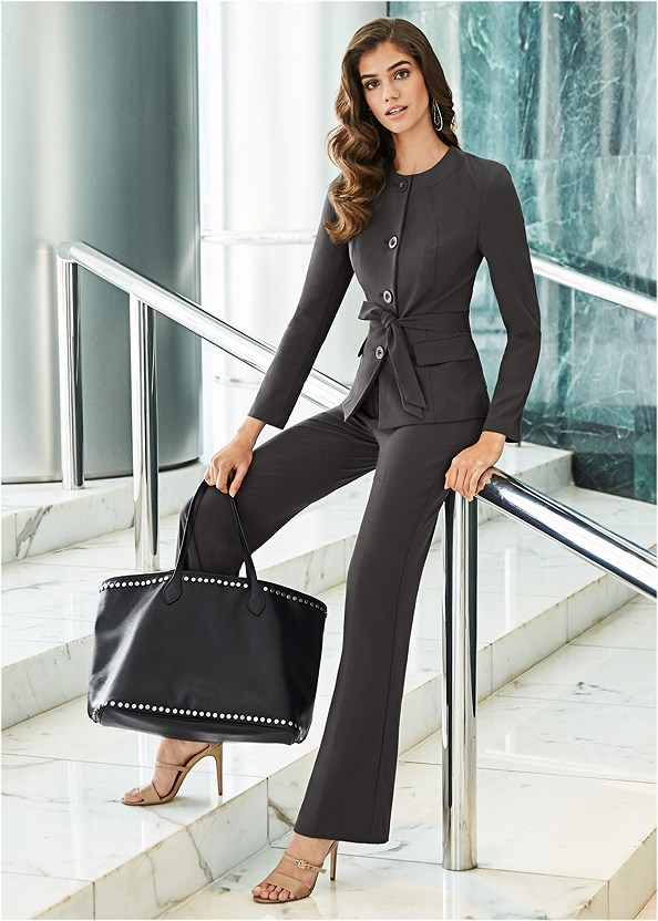 Belted Pant Suit Set,Block Heels,Beaded Crossbody