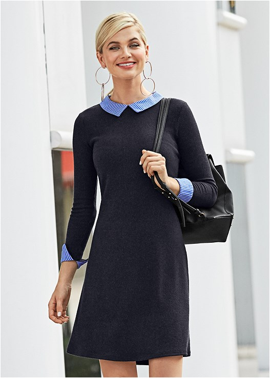 COLLAR DETAIL SWEATER DRESS,STRAPPY PEEP TOE HEEL