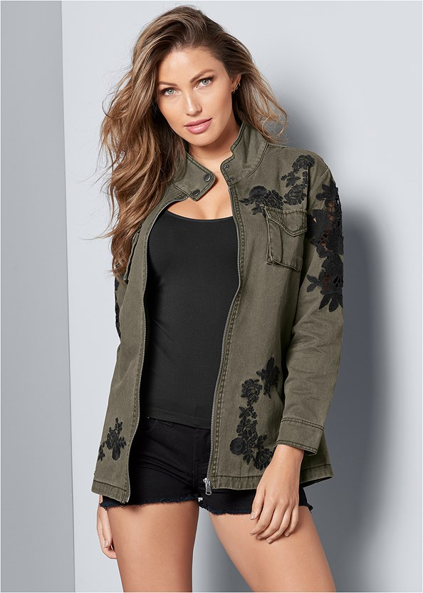 Lace Detail Jacket,Basic Cami Two Pack,Frayed Cut Off Jean Shorts