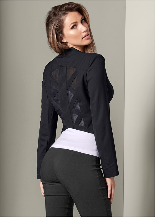 MESH DETAIL JACKET,SEAMLESS CAMI,SLIMMING STRETCH JEGGINGS,STUDDED STRAPPY HEELS