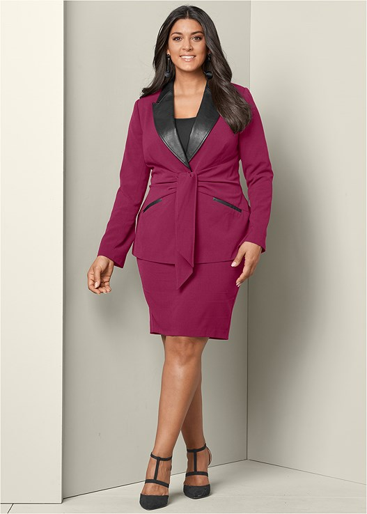 TIE DETAIL SKIRT SUIT SET,BAUBLE HOOP EARRINGS