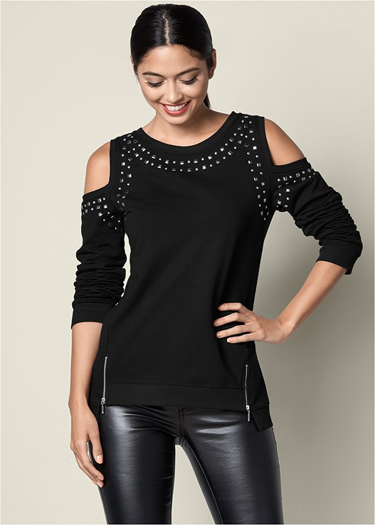 COLD SHOULDER SWEATSHIRT,FAUX LEATHER PANTS