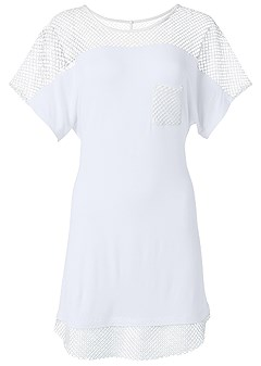 plus size mesh trimmed cover-up dress